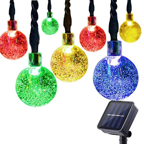 Prolight Waterproof Multicolor Christmas Lamp Solar String Lights 16ft 30 LED Bubble Crystal Ball Decorative Light for Outdoor Indoor Garden Patio Party Xmas Tree Decorations