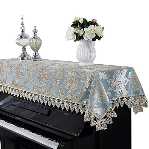 Minimal Life Piano Cover Upright Dusting Best Velvet & Lace Cloth Piano Towel (Peacock Blue)