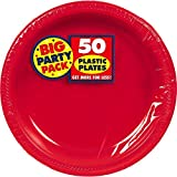 Amscan Big Party Pack 50 Count Plastic Lunch Plates, 10.5-Inch, Apple Red