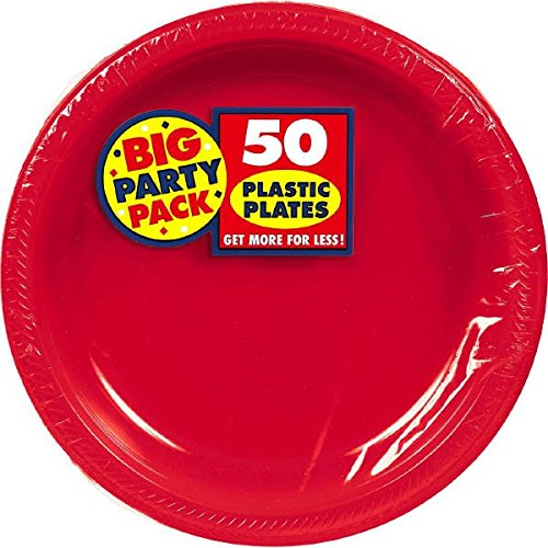 Apple Red Plastic Plates Big Party Pack, 50 Ct. | Tableware ()