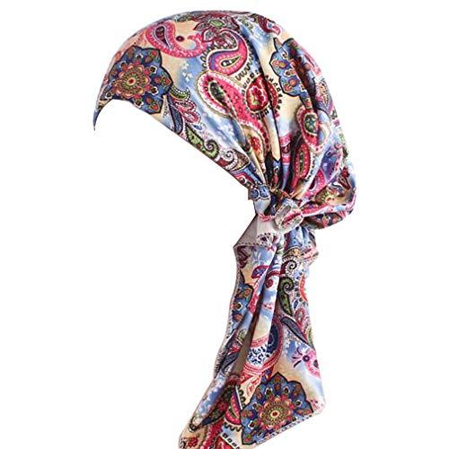 (Summer Chemo Scarf Lightweight Silky Beanie Ruffle Cap Cancer Headwear for Womens (Style 09, Pattern A))