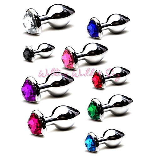 High quality S/M/L Size Heart Shape Stainless Steel Anal Plug Metal Butt Plug Sex Toys For Women Men Anal Dilator Jewelry Anal Sex Products