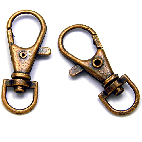 10 Big 1 1/2 Inch 360 Swivel Lobster Clasp Clip Hook Findings for Purses Lanyards + (Antique Copper ()