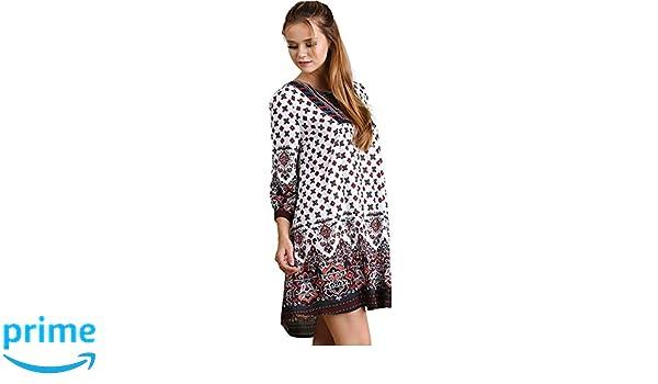 9bd504b37ed Umgee Tassel Tie Peasant Bohemian Tunic Dress (Medium, Off-White) at Amazon  Women's Clothing store: