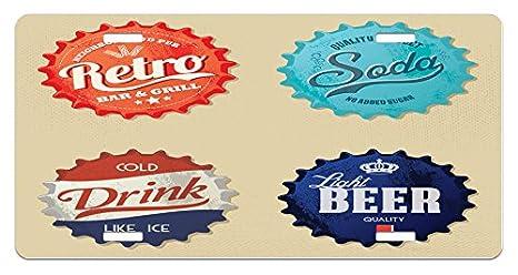 Amazon com: Lunarable 1950s License Plate, Retro Bottle Caps