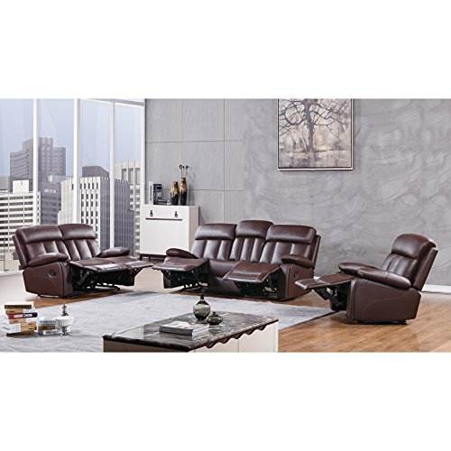American Eagle Furniture 3 Piece Dunbar Collection Complete Faux Leather Reclining Living Room Sofa Set, Dark Brown (3 Piece Sofa Collection)
