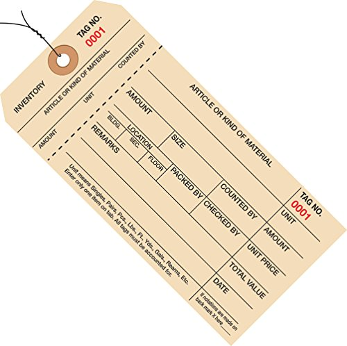 Box Partners 1000 to 1999 Wired Numbered Inventory Tag 1 Part Stub (1999 Inventory Tags)