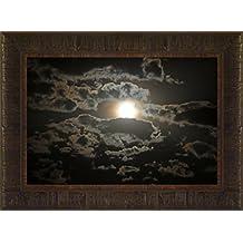 Night Glow By Todd Thunstedt 17.5x23.5 Moon Moonscape Lunar Solar Eclipse Beach Palm Trees Ocean Sea Night Clouds Nautical Heavens Midnight Twilight Dusk Nightfall Sundown Framed Art Print Wall Décor Picture