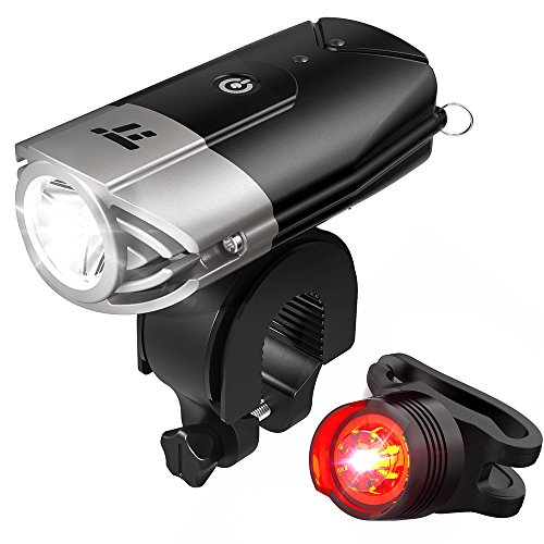 LED Bike Lights Front and Back, TaoTronics 700 Lumens Bicycle Lights, Rechargeable Bike Light Set, Bike Headlight, IP65 Waterproof, Cree LED, Free Tail Light and Helmet Mount (Bike Headlamp)