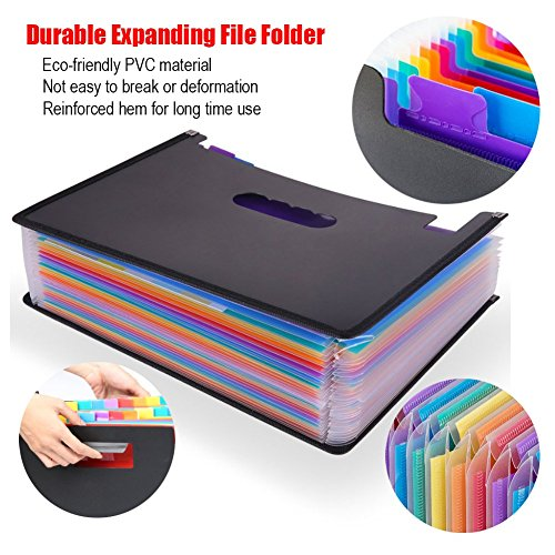 Expanding File Folder 24 Pockets Multi-Color Accordion Files Box A4 Document Organizer with Expandable Wallet Stand – Works on Legal Size and Letter Size by Huztl Photo #2