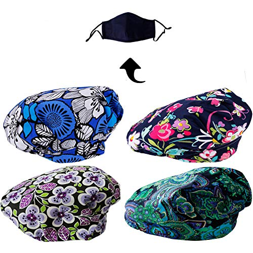 JoyRing 4 Pack Adjustable Surgical Scrub Cap Medical Doctor Bouffant Hats with Sweatband and Free Cotton Mask