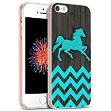 Iphone SE Case Horse/ IWONE Apple Iphone 5S 5 SE Case Tpu Skin Cover Protective Rubber Silicone + Horse Blue Chevron Animal