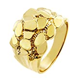 Men's 14k Gold Nugget Ring ''The Block'' (8.75)