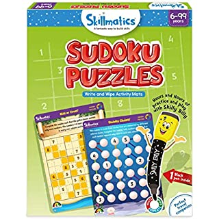 Skillmatics Educational Game: Sudoku Puzzles (6-99 Years) | Erasable and Reusable Activity Mats | Gifts for Boys and Girls 6, 7, 8, 9, Years and Up | Travel Friendly Toy with Dry Erase Marker