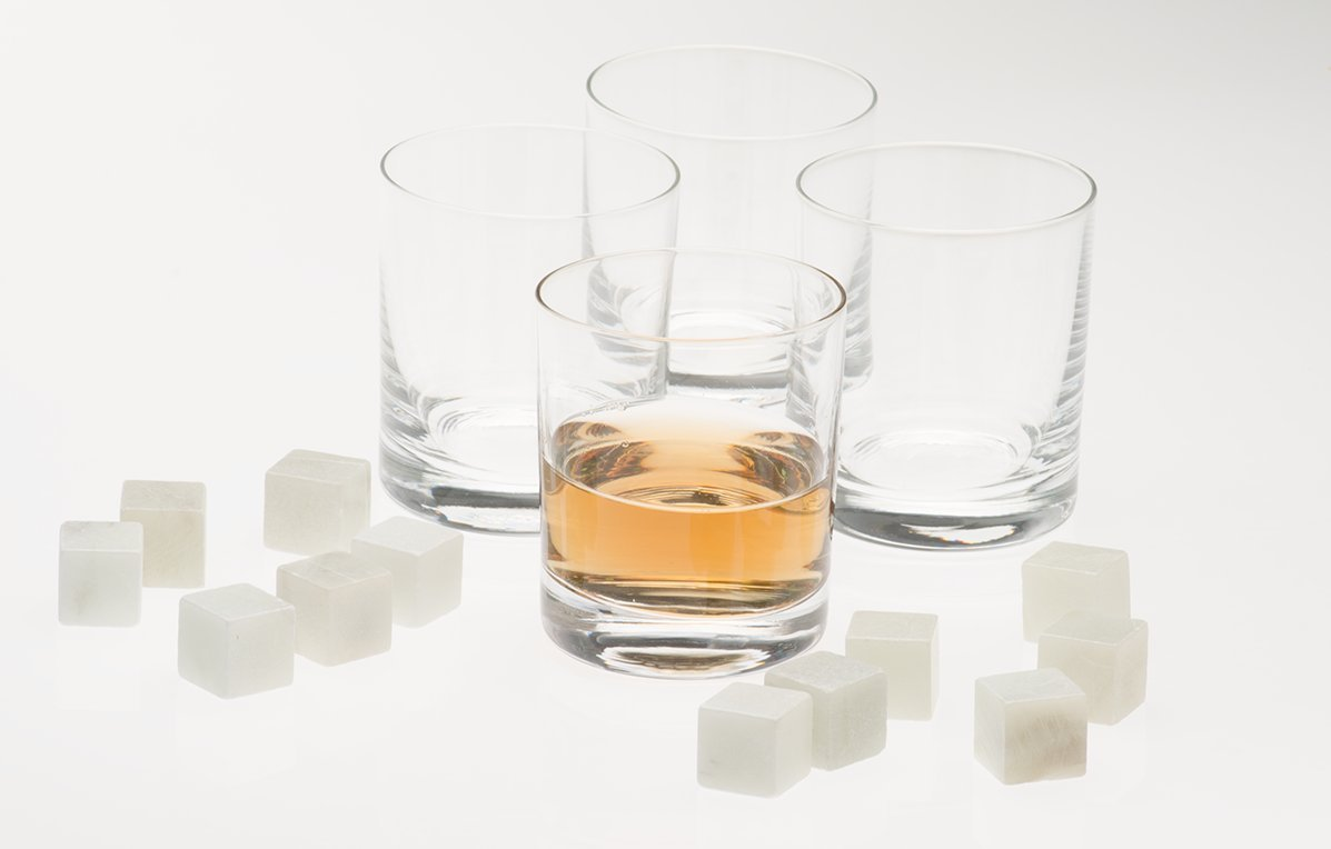 Highball Glass - Set of 4 Whiskey Glasses plus 12 Whiskey Stones - Old fashioned whiskyglas - No hassle return