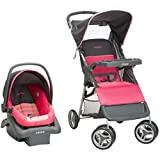 Cosco Lift & Stroll Travel System - Car Seat and Stroller – Suitable for Children Between 4 and 22 Pounds, Colorblock Coral