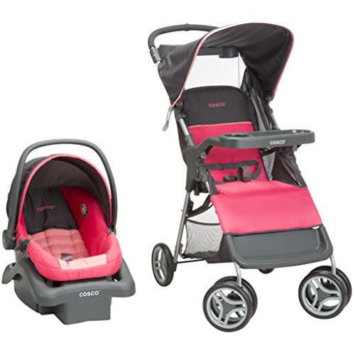 Cosco Lift & Stroll Travel System - Car Seat and Stroller – Suitable for Children Between 4 and 22 Pounds, Colorblock Coral by Cosco