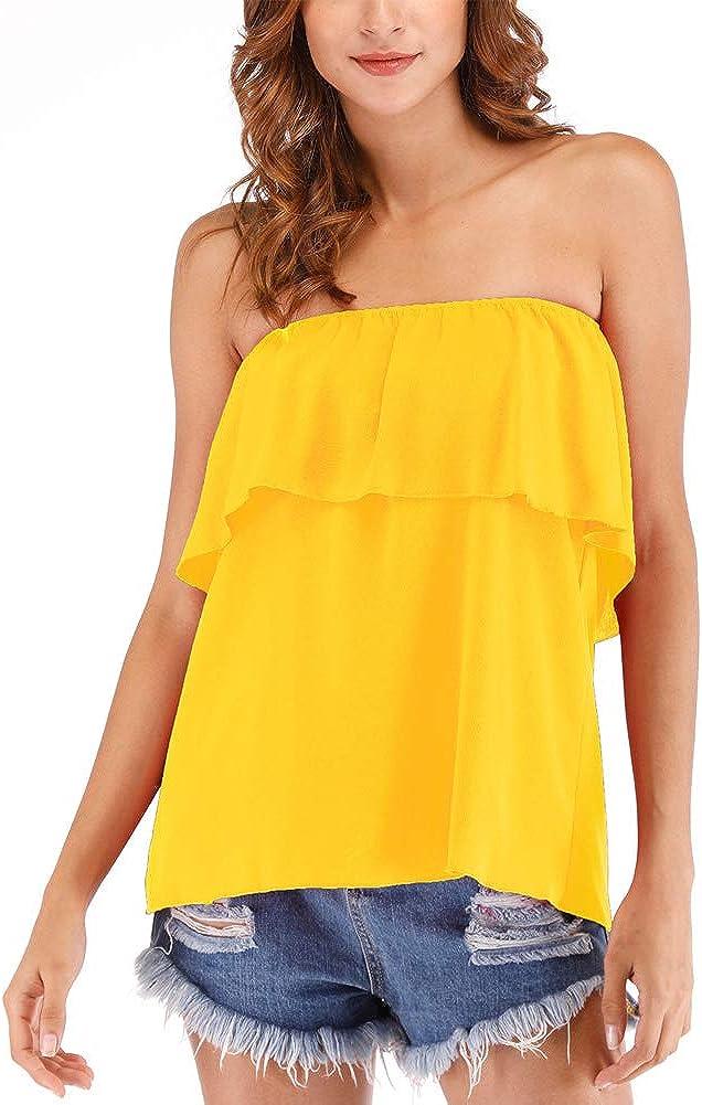 Hioinieiy Women's Summer Casual Off Shoulder Tube Top Chiffon Sleeveless Flowy Blouse Strapless Ruffle Swing Shirt