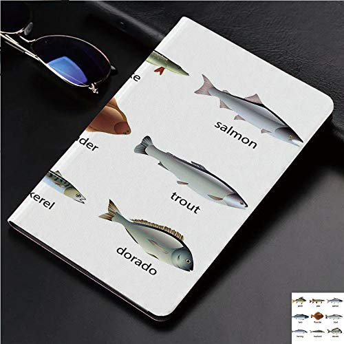 (Magnetic Leather Auto Sleep Awake Smart Case Cover for Apple iPad 2 3 4 9.7inch Soft TPU Cute Covers,with Perch Tuna Pike Flounder Mackerel Trout)