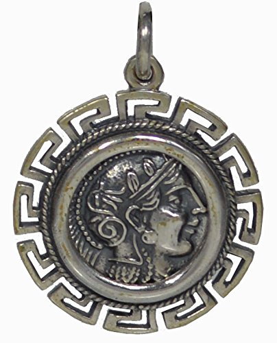 Goddess Athena & Owl of Wisdom Silver Pendant with Meander - Athens Tetradrachm