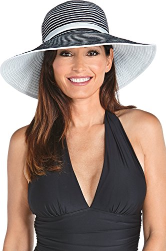 Coolibar UPF 50+ Women's Ribbon Hat - Sun Protective (One Size - Black/White)