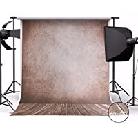 MOHOO 5X7ft Cotton Polyester Photography Background Brown Vintage Wooden Floor Photo Studio Collapsible Photo Backdrop for Studio Props1.5mx2.1m