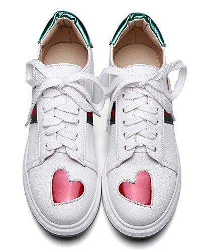 Sfnld Womens Casual Heart Lace Up Low Wedge Heel Trendy Sneakers Loafers Shoes White KCMWX2