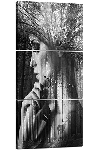 Black and White Modern Wall Decor 3 PCS Retro Pictures Simple Style Art Work Impression Figure Painting on Canvas Vintage Home Decoration for Living Room Framed Giclee Ready to -