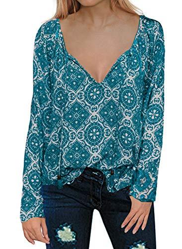 MIHOLL Women's Paisley Printed Long Sleeve Henley V Neck Pleated Casual Flare Tunic Blouse Shirt (Medium, Blue) ()