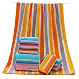 Zimaes Striped No Fading Softness Ideal for Everyday use Quick Drying Cotton Easy Care Bath Sheet Yellow 70140cm