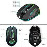 Wireless Gaming Mouse Up to 7200 DPI, UHURU Rechargeable USB Mouse with 5 Buttons 7 Changeable LED Color Ergonomic Programmable MMO RPG for PC Computer Laptop Gaming Players