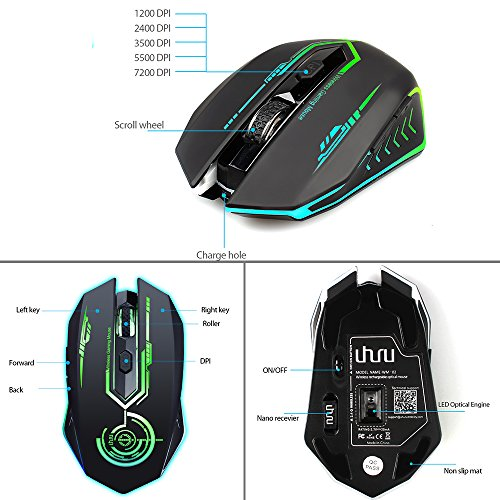 511nJ86ez%2BL - Wireless-Gaming-Mouse-Up-to-7200-DPI-UHURU-Rechargeable-USB-Mouse-with-5-Buttons-7-Changeable-LED-Color-Ergonomic-Programmable-MMO-RPG-for-PC-Computer-Laptop-Gaming-Players