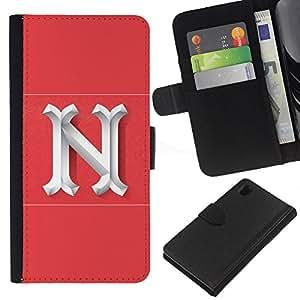 ZCell / Sony Xperia Z1 L39 / N New York Letter Pink White Initial / Caso Shell Armor Funda Case Cover Wallet / N Nueva York Carta rosado blanco i