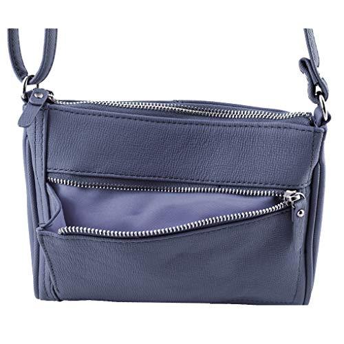 Navy Fever Silver Debossed Cross Travel Body Handbag Leather zaFpaW6
