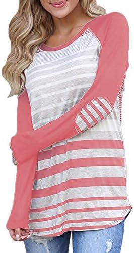De la Mujer Casual Túnica Tops Junior de manga larga rayas camisetas blusas