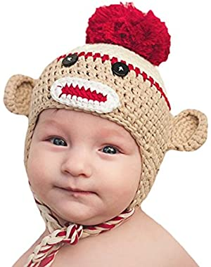 Melondipity Crimson Red and Tan Baby and Toddler Boy Sock Monkey Crochet Hat