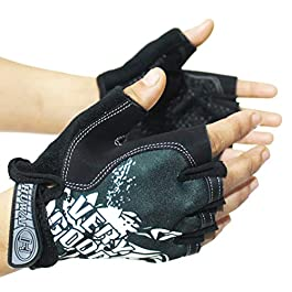 Alexvyan Imported New Half Finger Black Running Fitness Biking Outdoor Protective Hand Riding, Cycling, Bike Motorcycle…