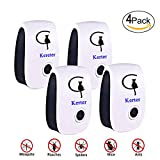 Kerter Ultrasonic Mosquito Pest Repellent- [2018 UPGRADED].Bug Zapper Electronic insect killer,Repels Ants, Roaches, Fleas, Rats, Bugs, Fruit Fly, Cockroaches and More(4 Pack) (white)