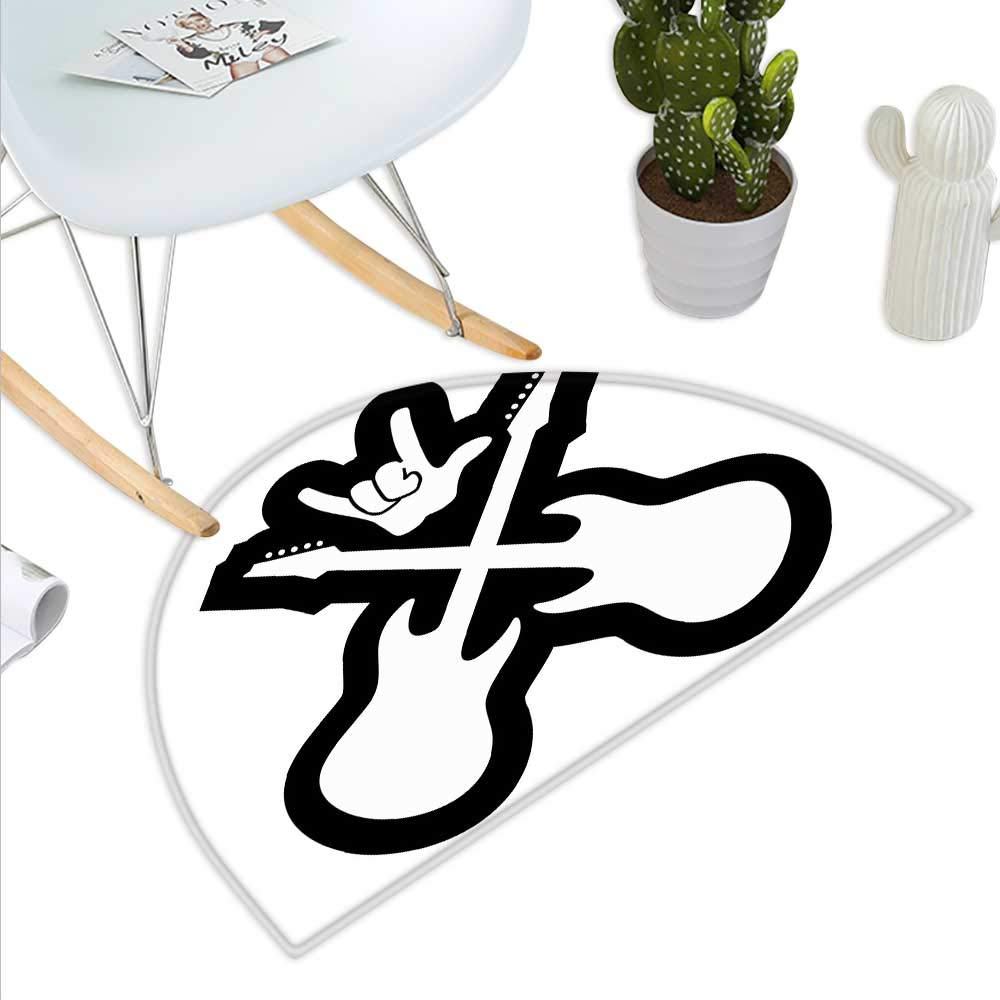 color10 H 31.5  xD 47.2  Rock Music Semicircle Doormat Guitar Player Star Abstract Monochrome Splashes and Halftone Frame Pattern Halfmoon doormats H 27.5  xD 41.3  Black Red Peach