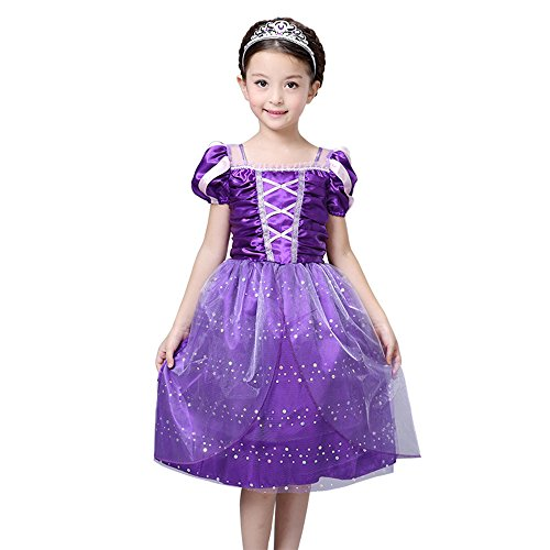Toddler Tangled Dress Up, Princess Costume for 3-10 Years Girls when Rapunzel Party by FloweryOcean - XXL - 140. (Rapunzel Dress Up Clothes)