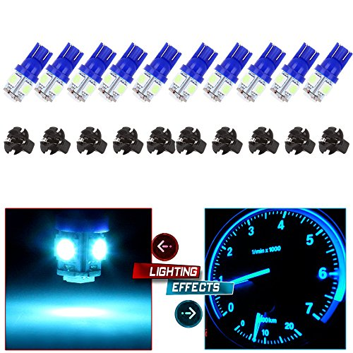2005 Dodge Neon Dash - 10Pack T10 5-5050-SMD 194 168 161 2825 Instrument Panel Dash Light Bulb w/Twist Lock Socket (ioce blue)