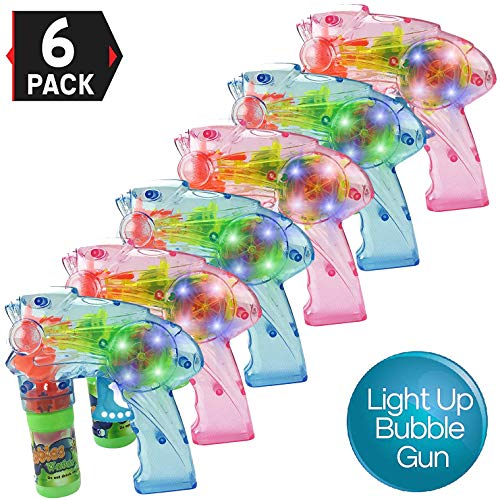 Flashing Bubble Gun (Liberty Imports Pack of 6 - Wind Up Fish Bubble Gun Shooter Light Up LED Blowers with Bottle Solutions Included - Kids Bulk Indoor Outdoor Toy Party Favors Gifts (No)