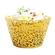 DZT1968(TM) 24pc Cup Muffin Little Vine Lace Cut Cupcake Wrapper Liner Baking (Gold)