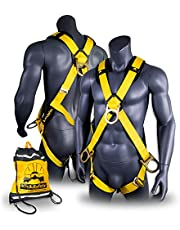 KwikSafety Thunder OSHA ANSI Fall Protection Full Body Safety Harness   Personal Protective Equipment with Dorsal Ring and Side D-Rings   Universal Construction Industrial Roofing Tool