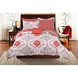 Classic Motif Coral Damask Bed in a Bag Complete Bedding Set (Full)