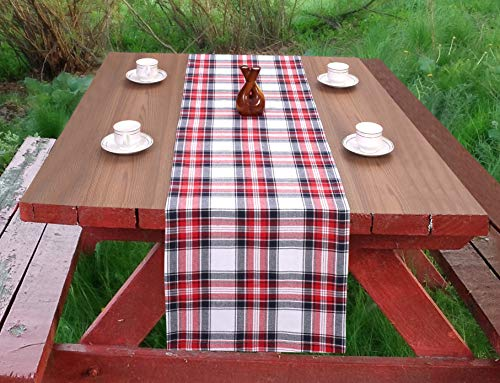 - Ramanta Home Cotton Check Plaid Table Runner for Family Dinners or Gatherings, Indoor or Outdoor Parties, Everyday Use, Wedding Table Runner-(16x72) Mitered Corners & Generous Hem, Red Navy, 2Pack