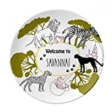 African Welcom To Savanna Zebra Leopard Wildlife Dessert Plate Decorative Porcelain 8 inch Dinner Home