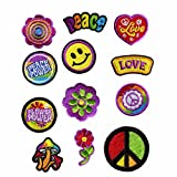 GODEAGLE 12 PCS Colorful Hippie Peace Sign Muchoom Peace Power Flower Power Love Hearted Smile Face Embroidered Patch Appliqued Iron-on/Sew-on Embroidery Patch for your Jacket Jeans Scoult Pacthes