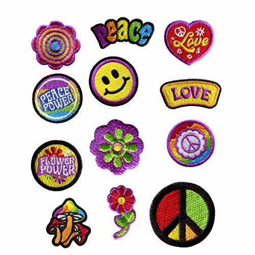 GODEAGLE 12 PCS Colorful Hippie Peace Sign Muchoom Peace Power Flower Power Love Hearted Smile Face Embroidered Patch Appliqued Iron-on/Sew-on Embroidery Patch for your Jacket Jeans Scoult Pacthes by GODEAGLE