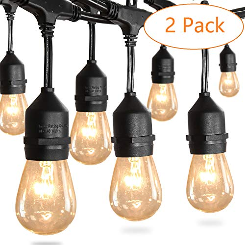 Amico 2 Pack 52FT Waterproof Outdoor String Lights with Hanging Edison Bulbs Commercial Grade Patio Café Lights - Great for Cafe Bistro Ambience in Your Garden by Amico